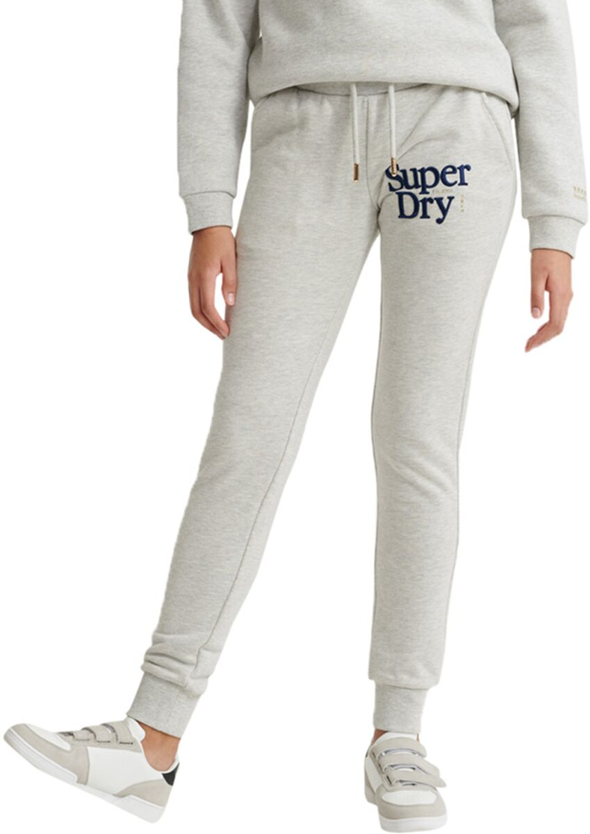 Superdry Applique Serif Jogger Bottoms Light Grey