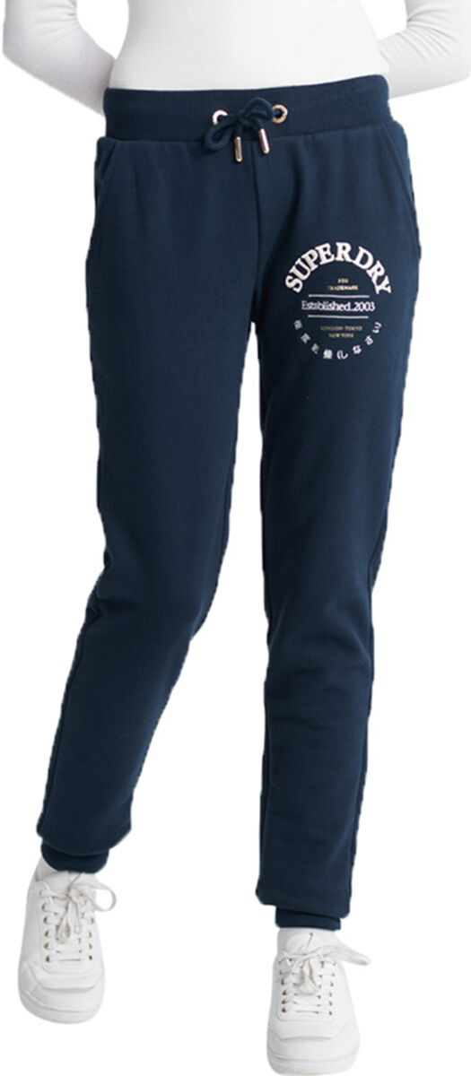 Superdry Applique Serif Jogger Bottoms Navy