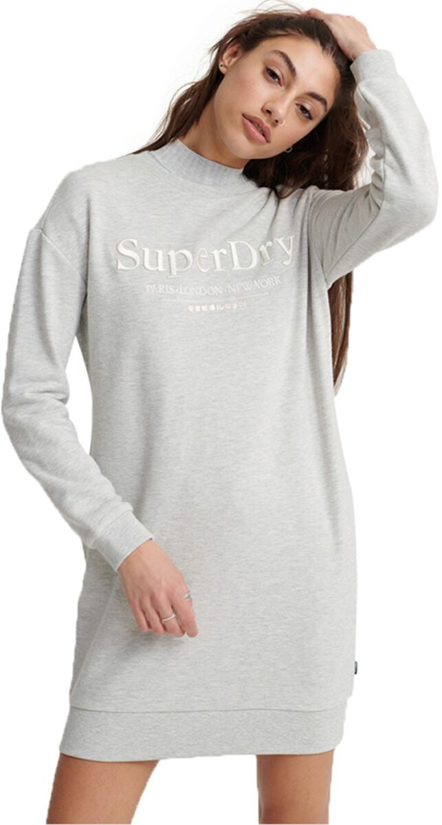 Superdry Applique Sweat Dress Light Grey