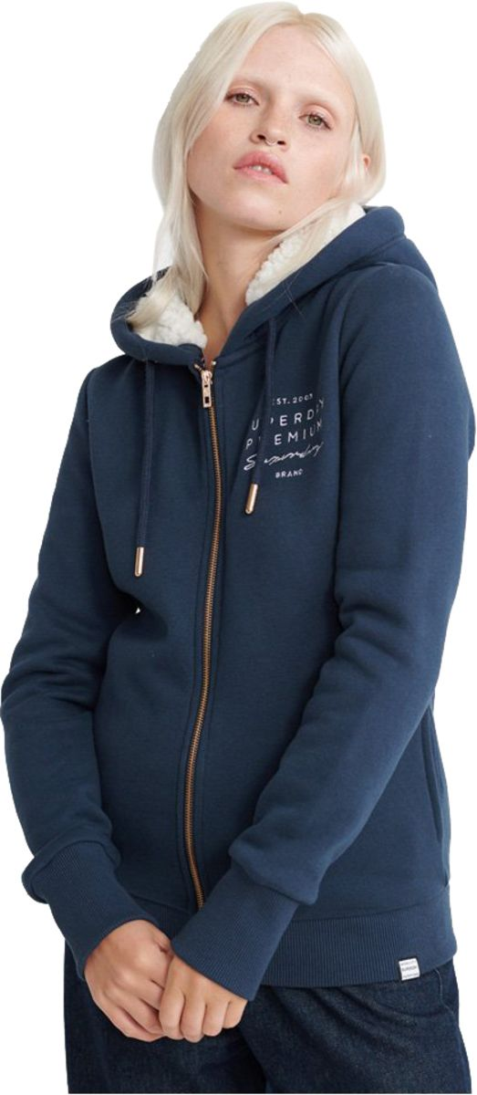Superdry Applique Zip Front Hoodie Blue