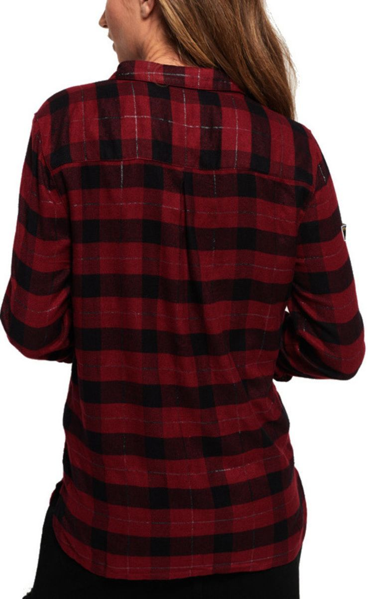 Superdry Aria Sparkle Check Shirt Burgundy