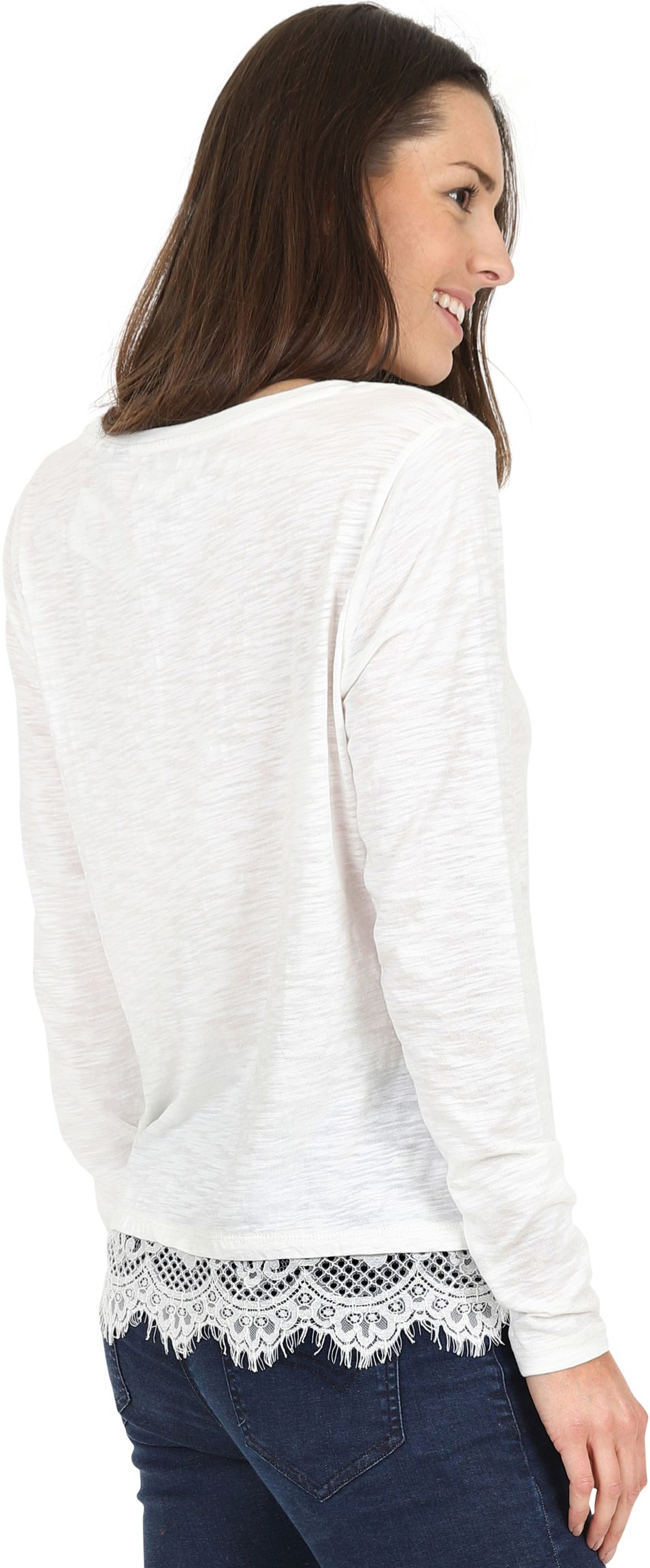 Superdry Ashby Lace Hem Long Sleeve Top