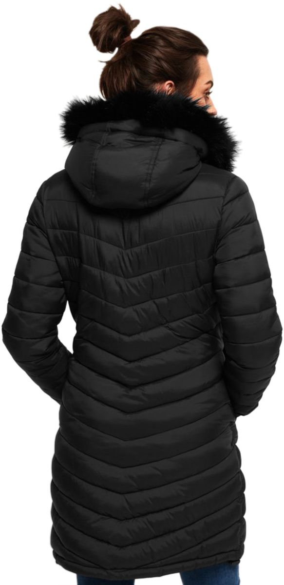 Superdry Chevron Faux Fur Super Fuji Jacket Black