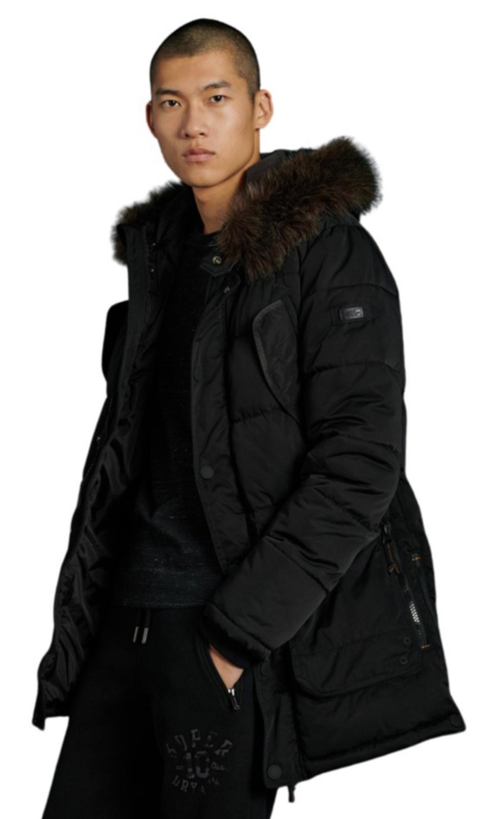Superdry Chinook Parka Coat Black