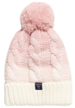 Superdry Clarrie Cable Beanie Bobble Hat Pink