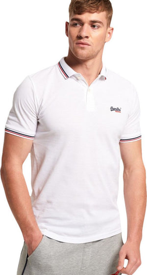 Superdry Classic Micro Lite Tipped Short Sleeve Polo Shirt White
