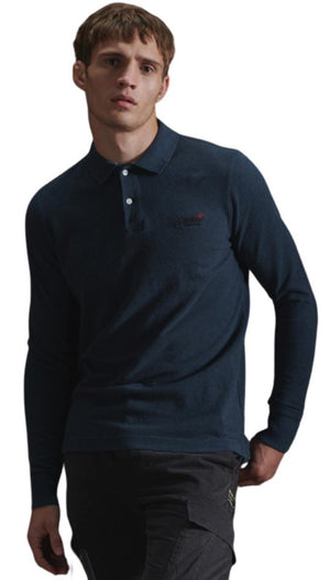 Superdry Classic Pique Long Sleeve Polo Shirt Blue