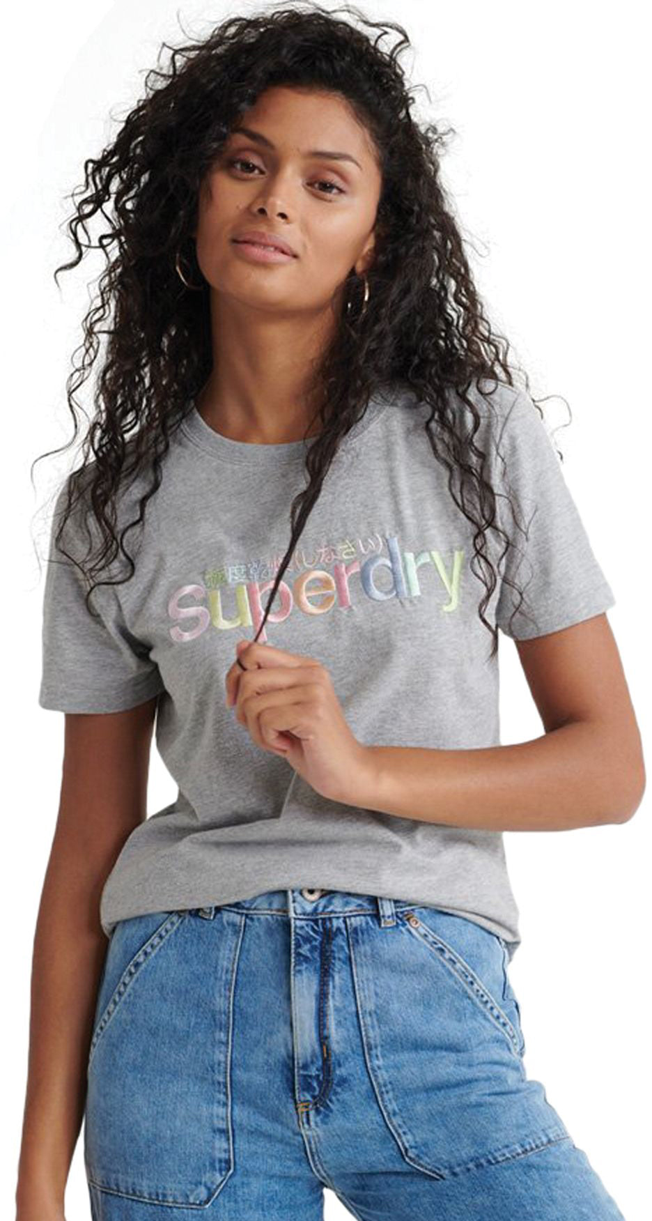 Superdry Classic Rainbow Embroidered T-Shirt Grey