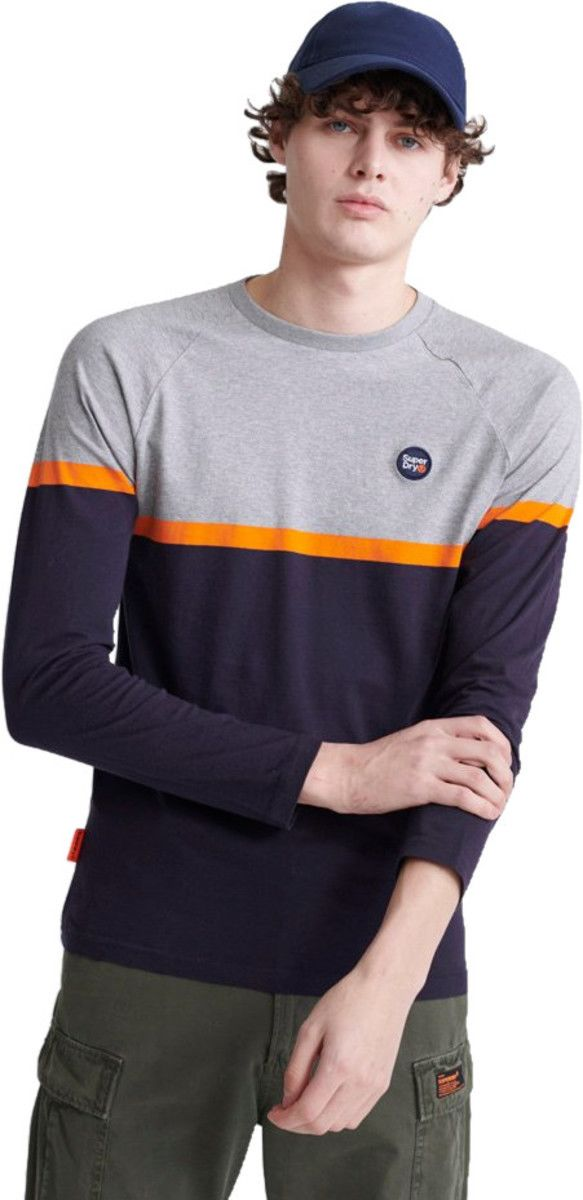 Superdry Collective Colour Block Long Sleeve T-Shirt Grey
