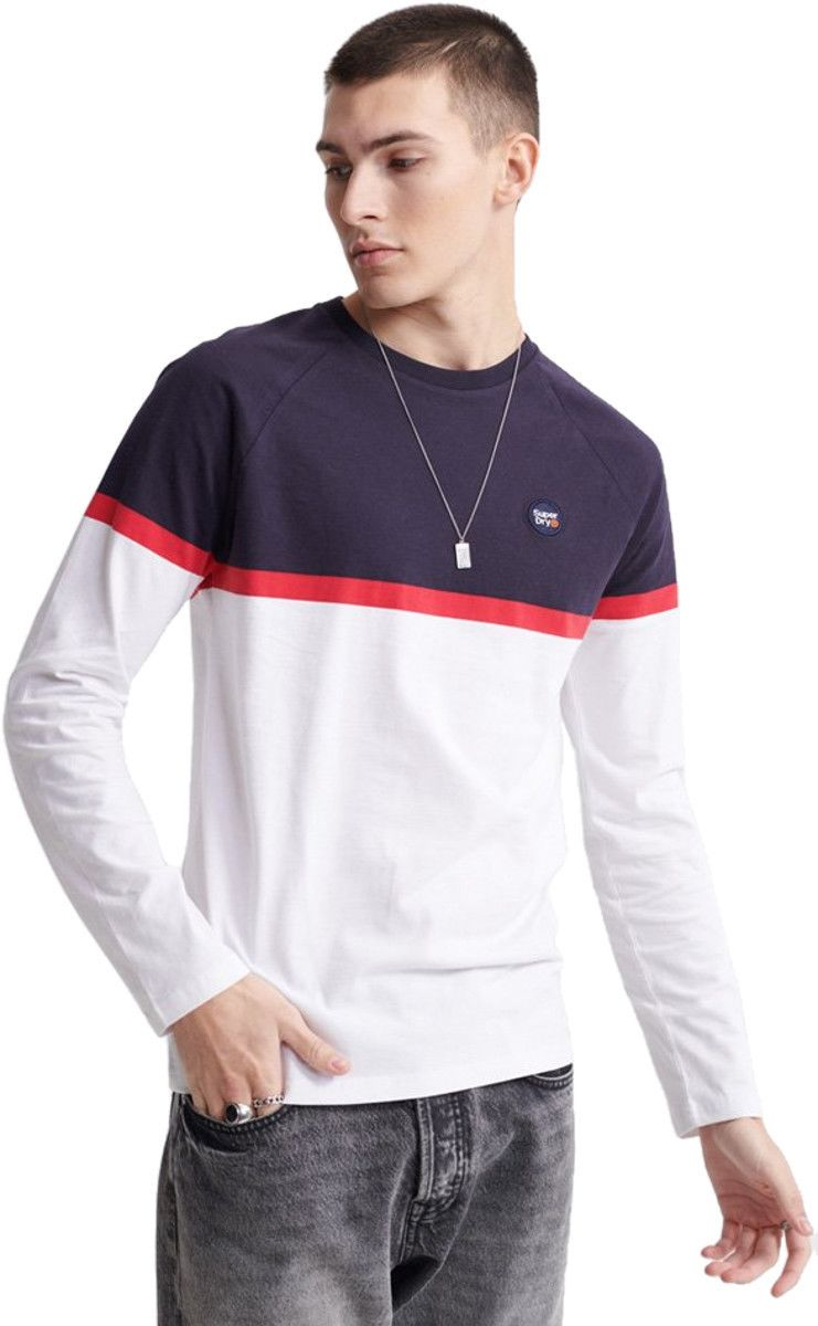 Superdry Collective Colour Block Long Sleeve T-Shirt White