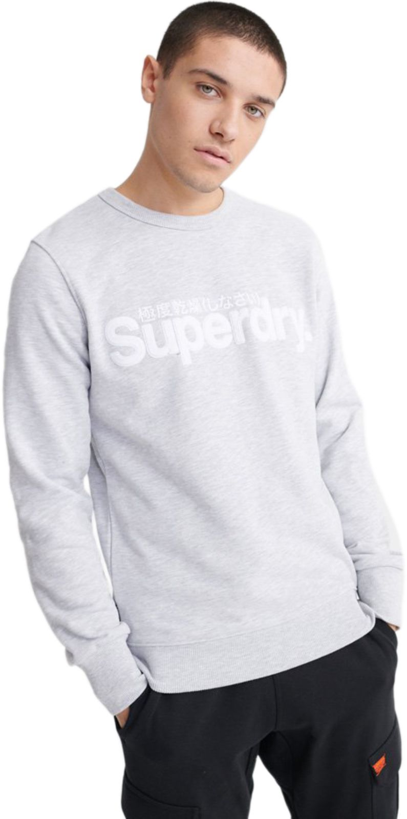Superdry Core Logo Faux Suede Sweatshirt Light Grey