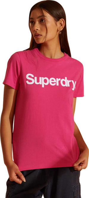 Superdry Core Logo Flock T-Shirt	Hot Pink