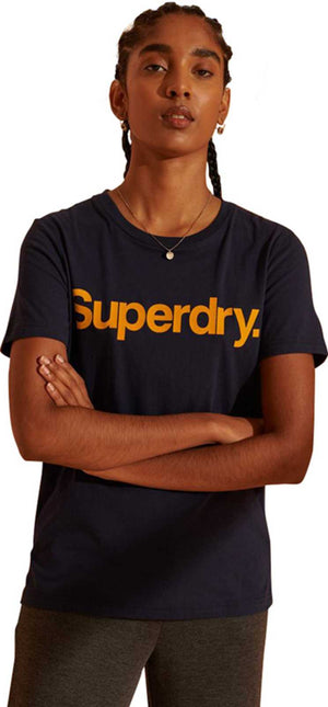 Superdry Core Logo Flock T-Shirt	Nautical Navy