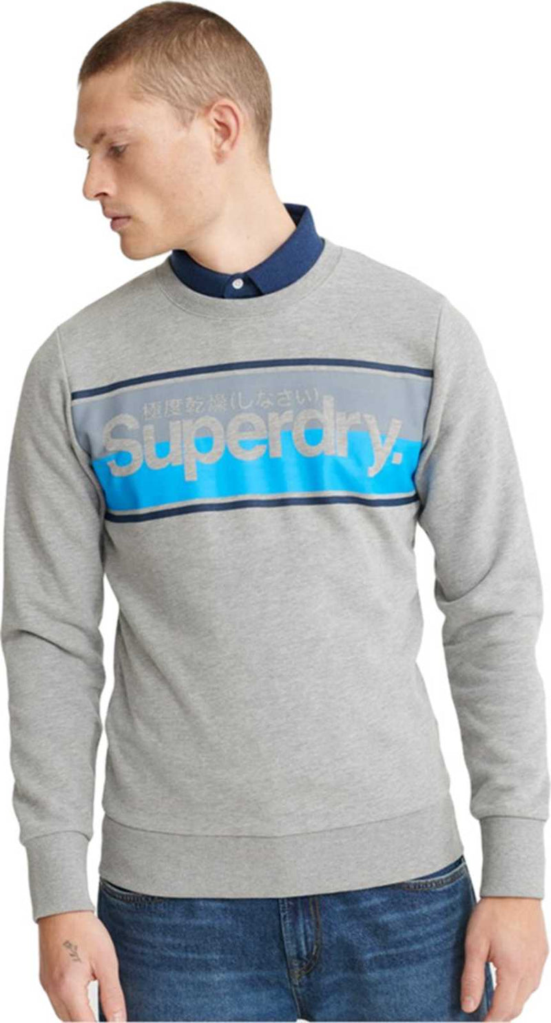 Superdry Core Logo Stripe Sweatshirt Grey