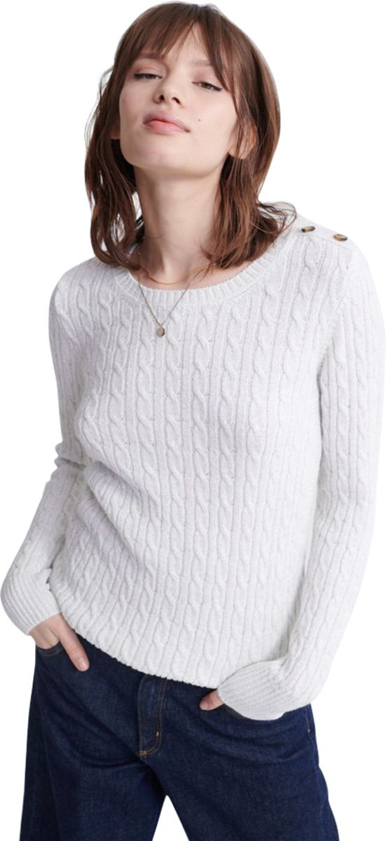 Superdry Croyde Cable Knit Jumper White