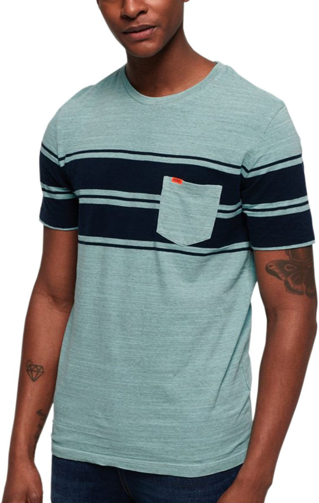 Superdry Dry Originals Stripe Pocket T-Shirt Green