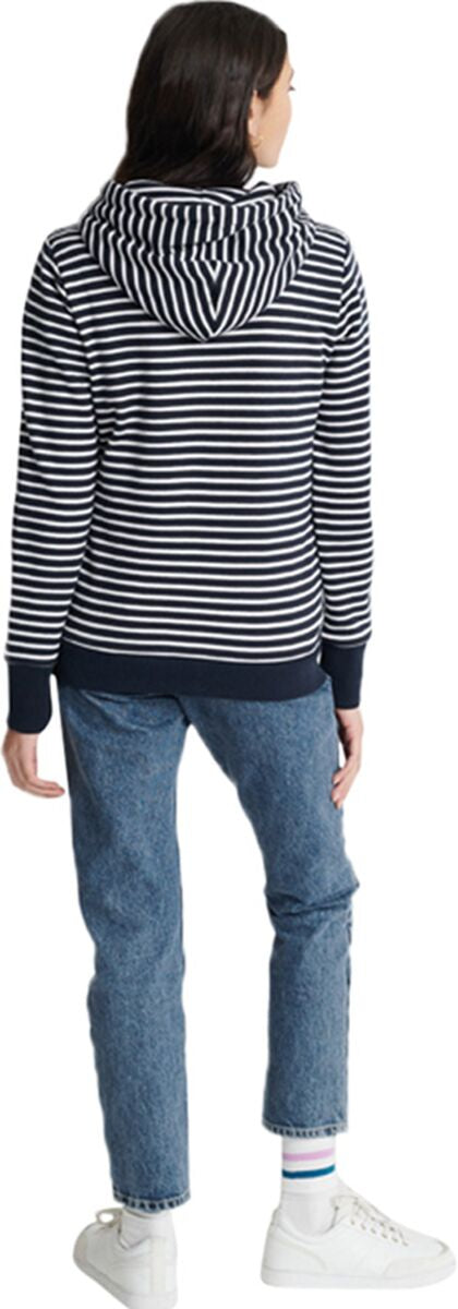 Superdry Embroidered Serif Striped Hoodie Navy