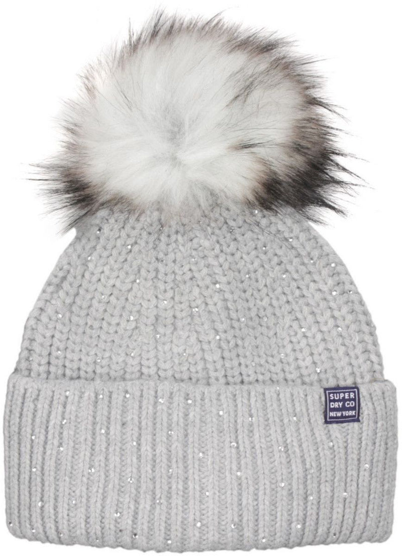 Superdry Erin Embellished Bobble Beanie Hat Grey