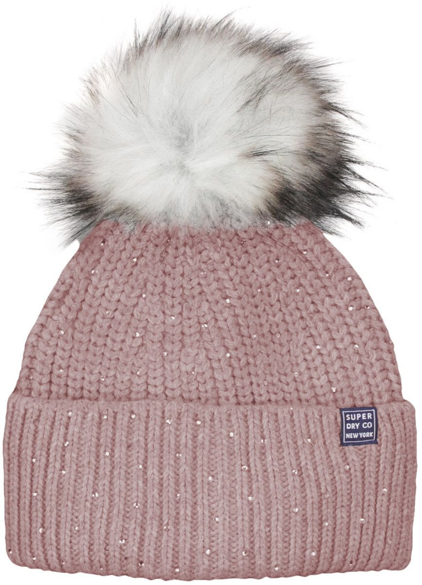 Superdry Erin Embellished Bobble Beanie Hat Red