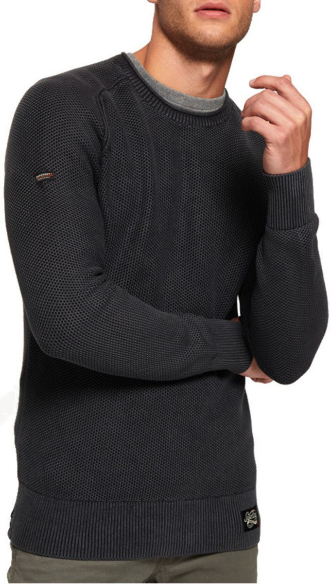 Superdry Garment Dye L.A. Textured Knit Jumper Black