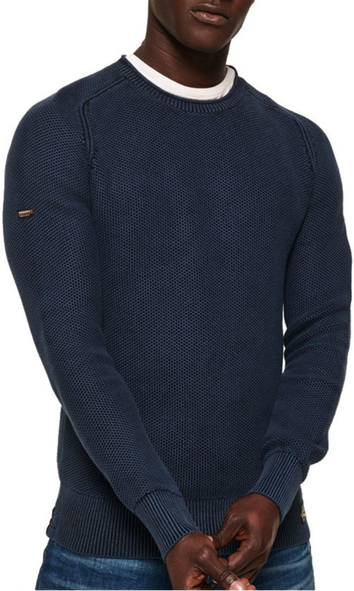Superdry Garment Dye L.A. Textured Knit Jumper Navy