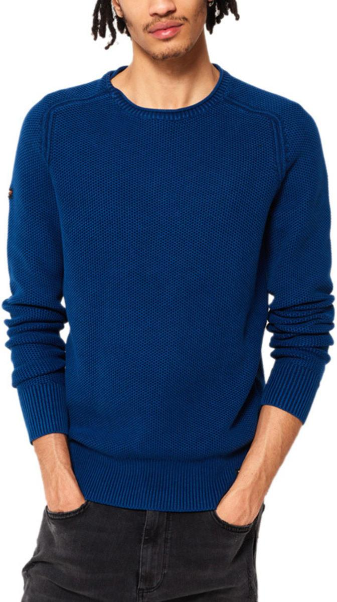 Superdry Garment Dye L.A. Textured Knit Jumper Blue