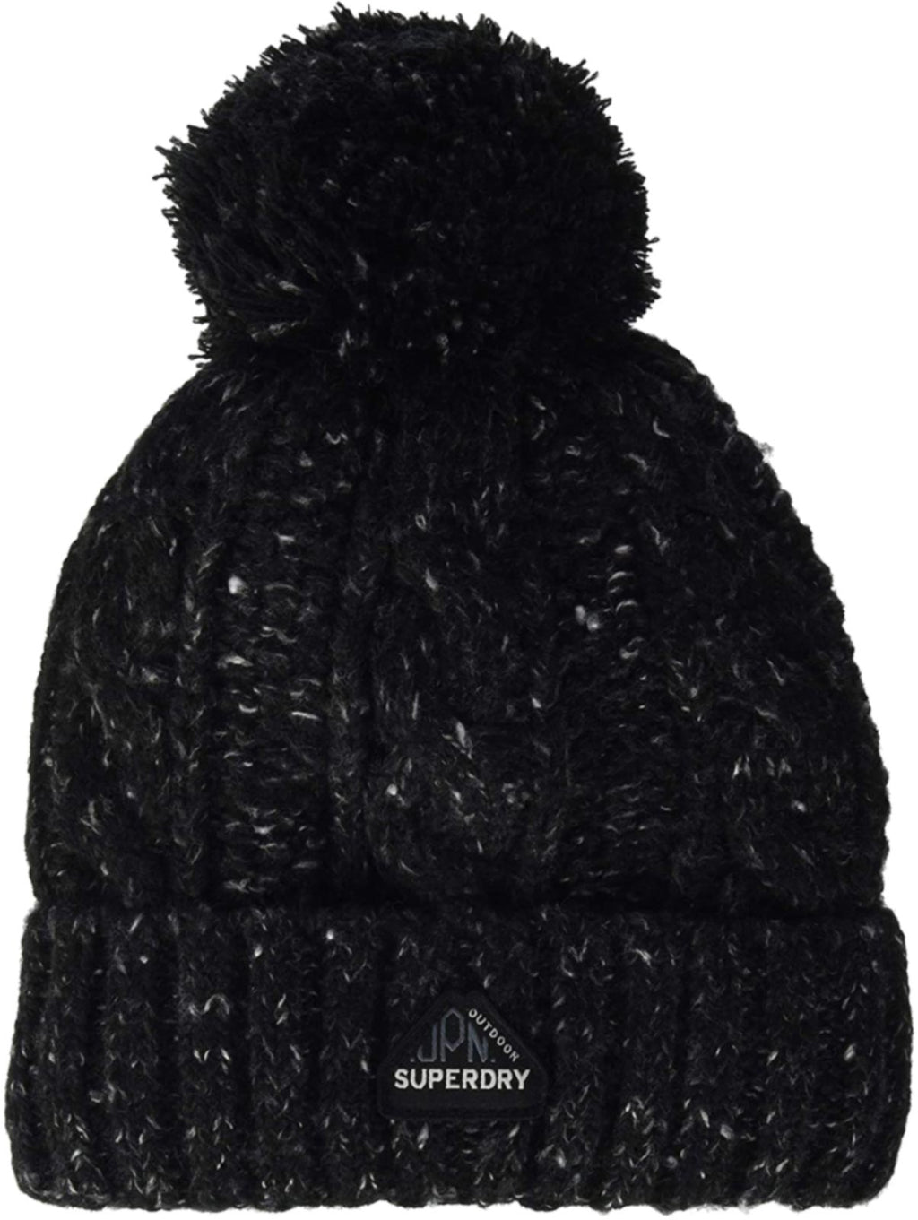 Superdry Gracie Cable Beanie Bobble Hat Black