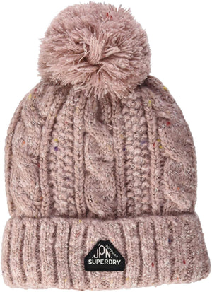 Superdry Gracie Cable Beanie Bobble Hat Pink