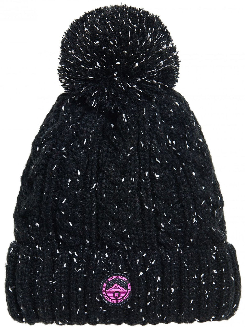 Superdry Gracie Cable Knit Bobble Beanie Hat Black