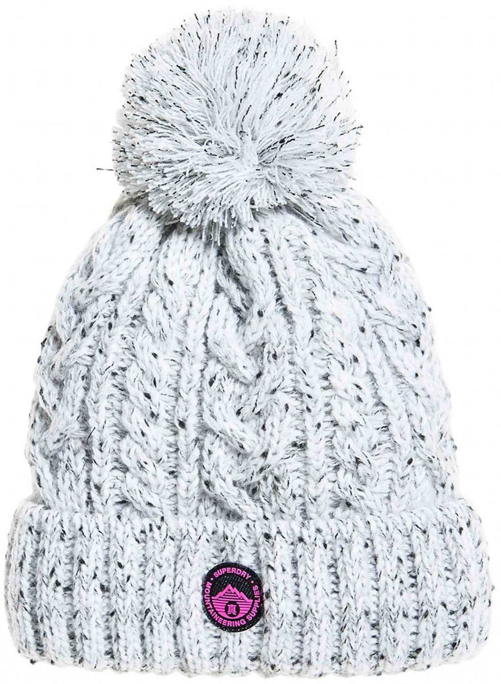 Superdry Gracie Cable Knit Bobble Beanie Hat Ice Grey