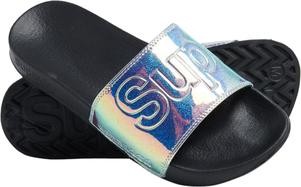 Superdry Holographic Glitter Pool Sliders Back
