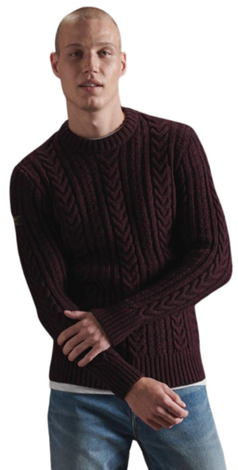 Superdry Jacob Cable Knit Jumper	Brownstone Burgundy Twist