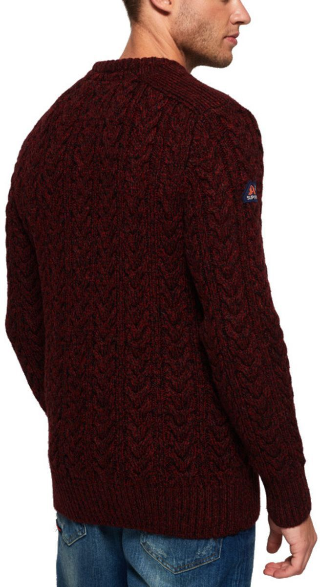 Superdry Jacob Crew Knit Jumper Burgundy