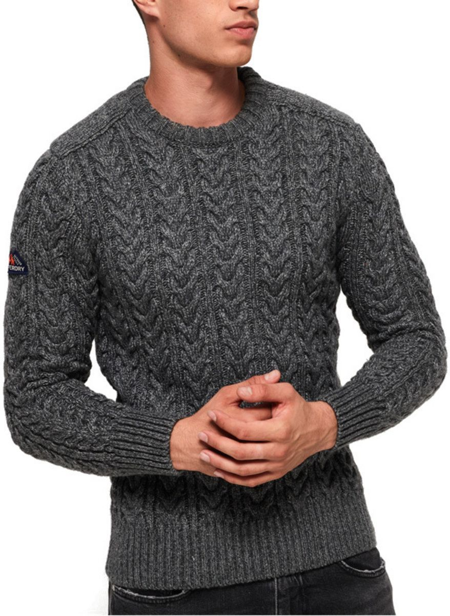 Superdry Jacob Crew Knit Jumper Charcoal