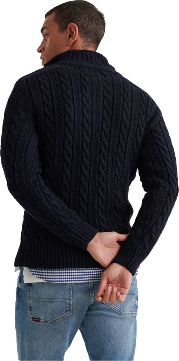 Superdry Jacob Henley Knit Jumper Navy