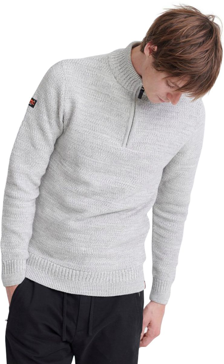 Superdry Keystone Henley Knit Jumper Grey