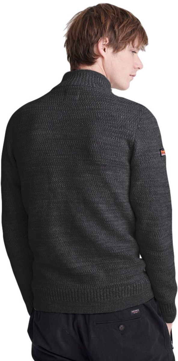 Superdry Keystone Henley Knit Jumper Charcoal