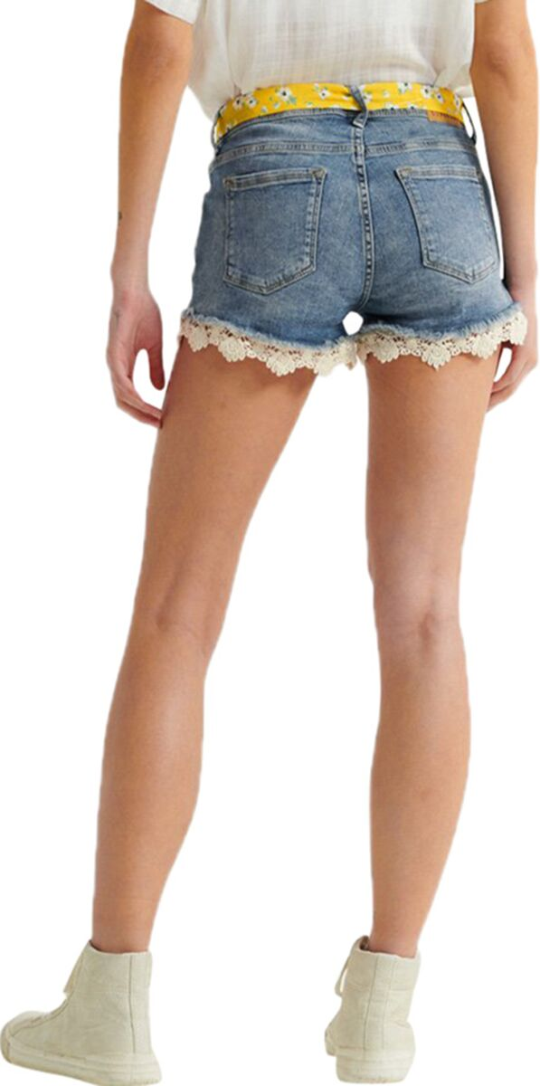 Superdry Lace Hot Denim Shorts Blue