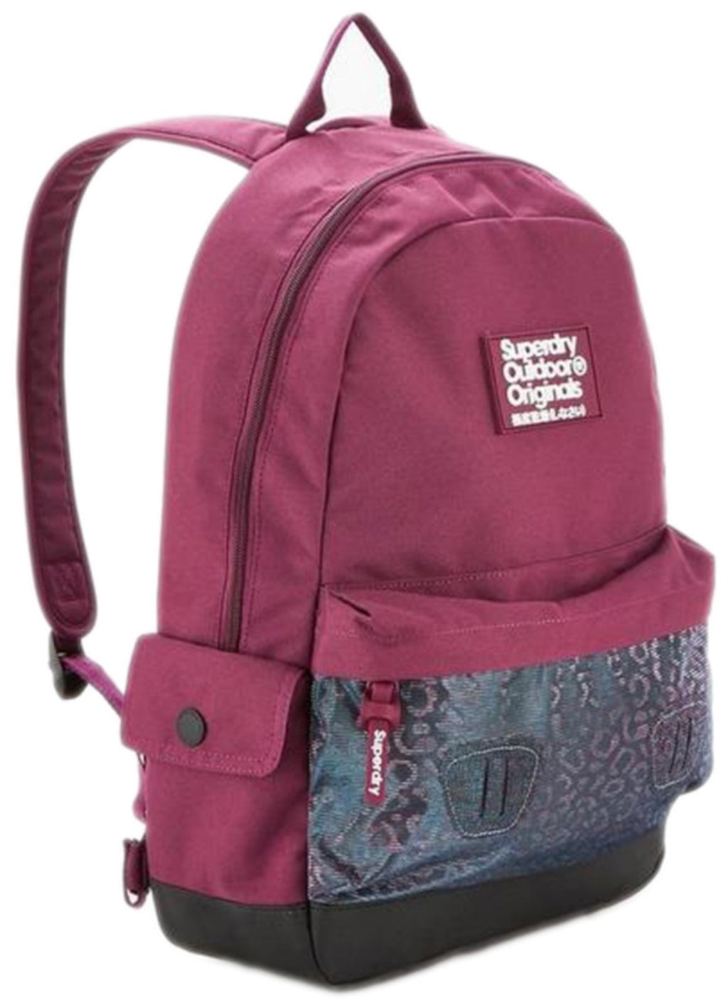 Superdry Leopard Mesh Pocket Montana Backpack Bag Purple