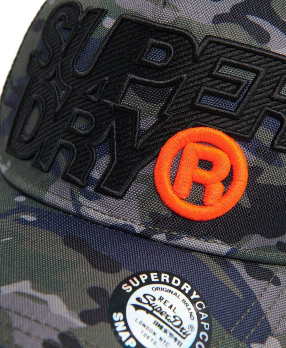 Superdry Lineman Mesh Trucker Baseball Cap Black Camo