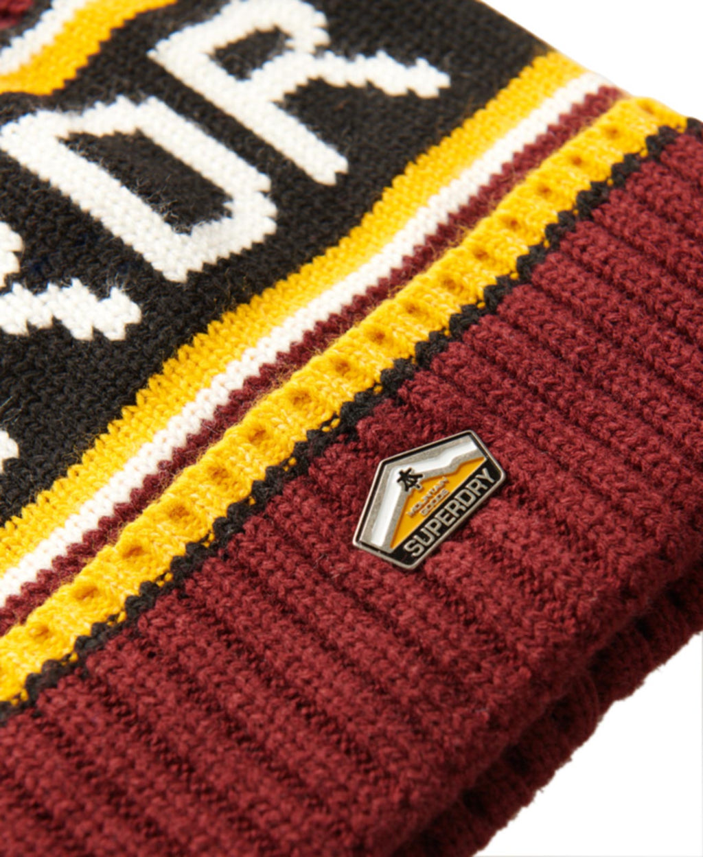 Superdry Logo Beanie Bobble Hat Burgundy