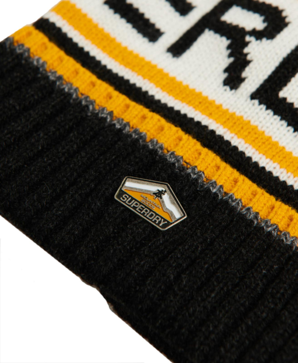 Superdry Logo Beanie Bobble Hat	Magma Black Twist/Upstate Gold