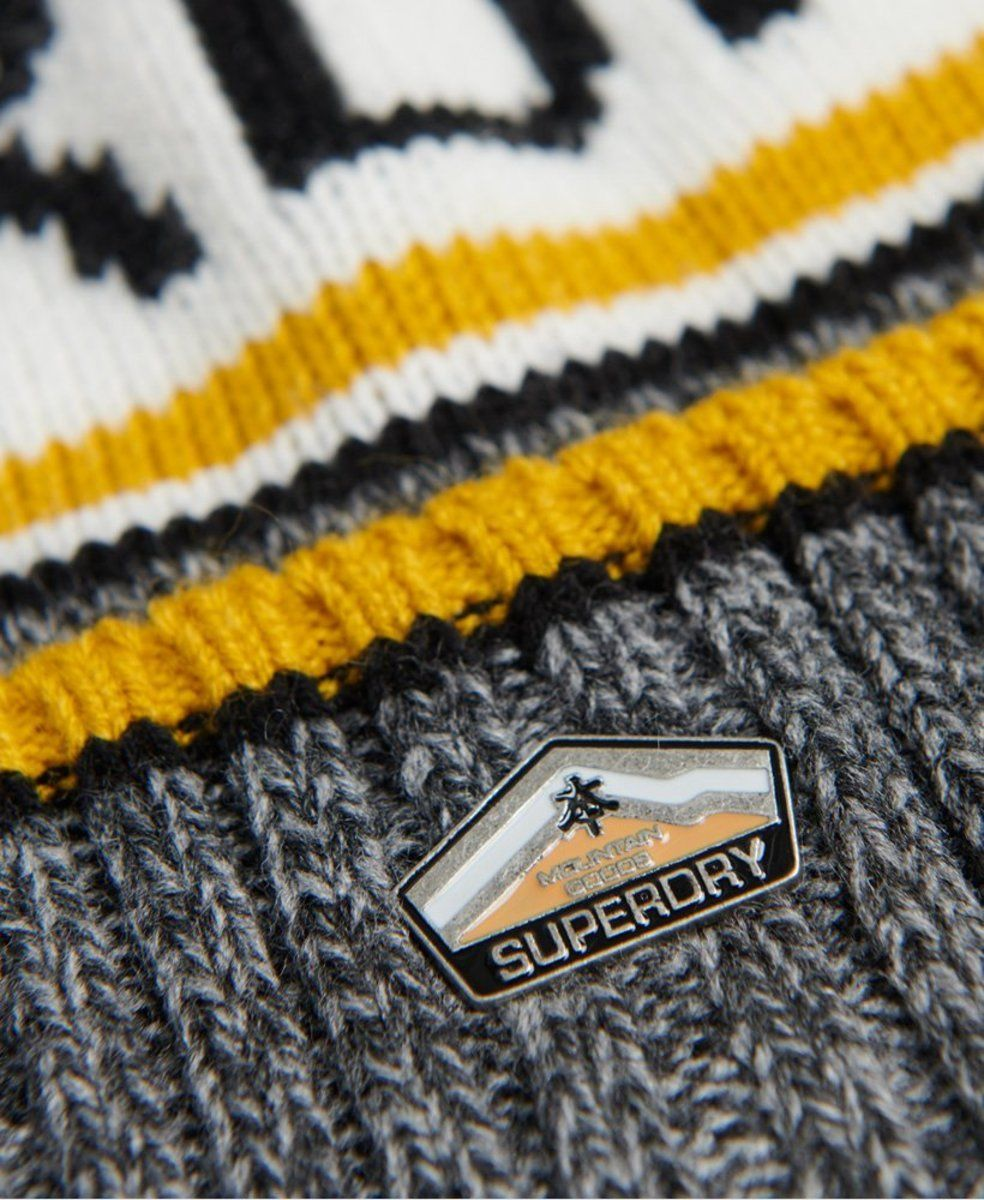 Superdry Logo Bobble Beanie Hat Grey
