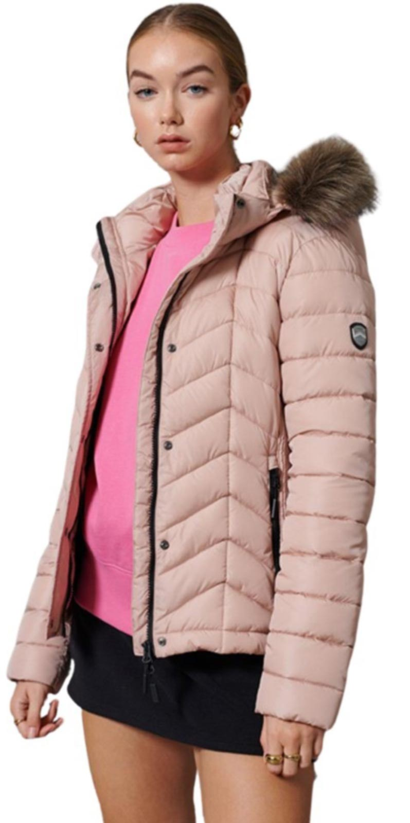Superdry Luxe Fuji Padded Jacket Pink