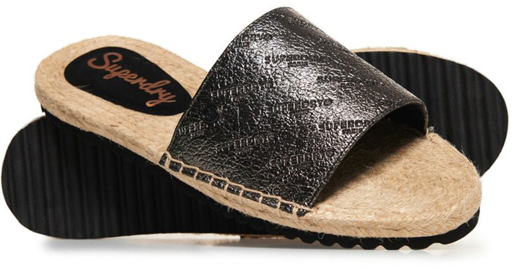 Superdry Maya Espadrille Sliders Grey