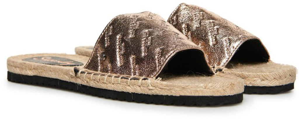Superdry Maya Espadrille Sliders Gold