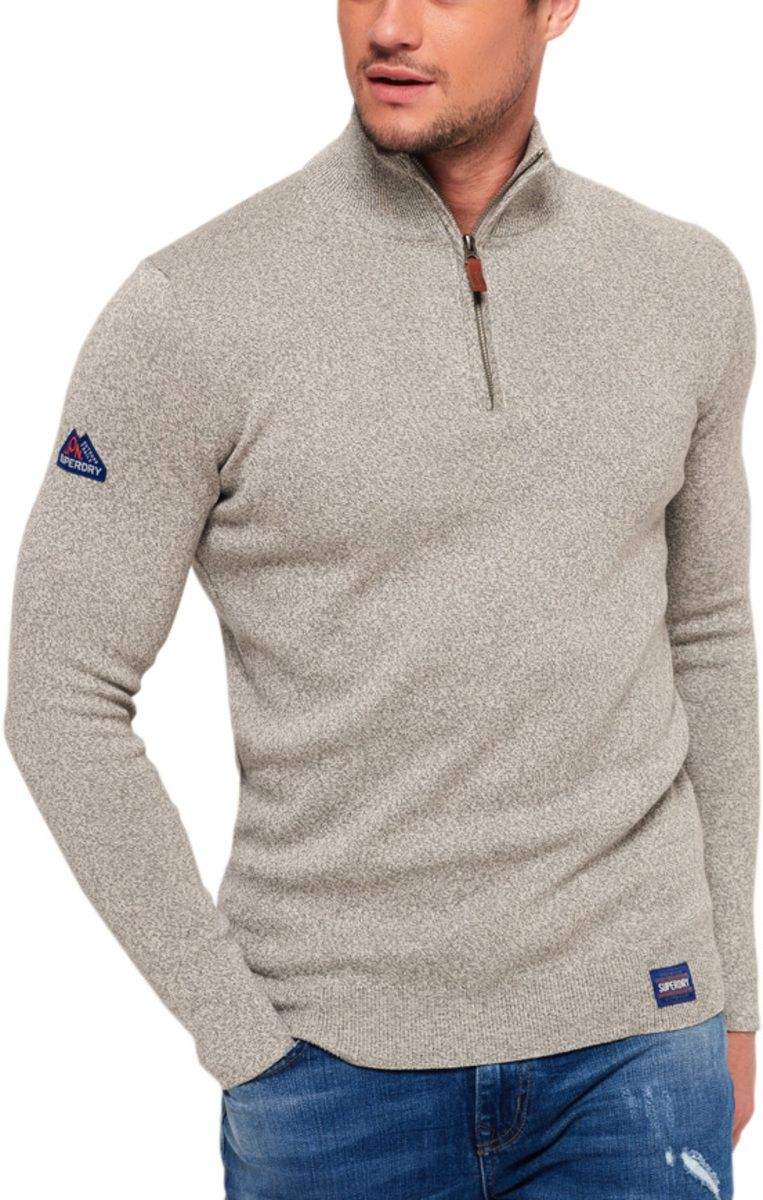 Superdry Metropolitan Northside Henley Knit Jumper Grey
