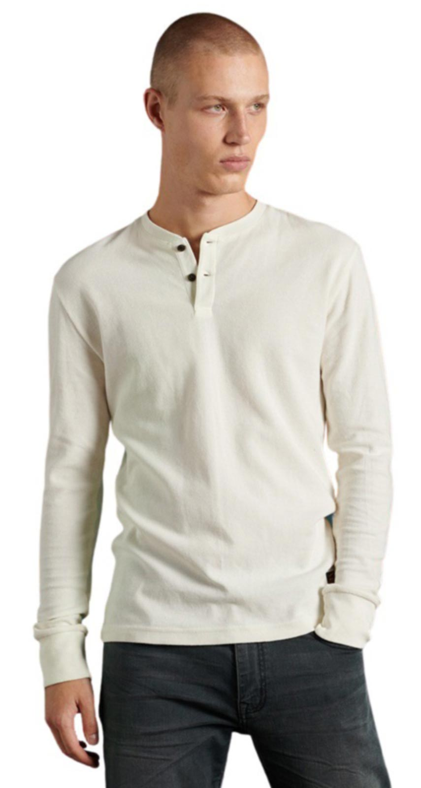 Superdry Micro Texture Henley Top Cream