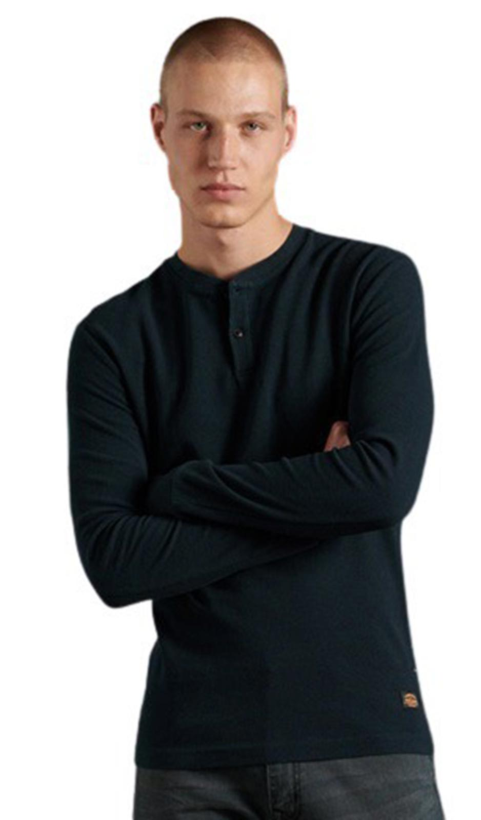Superdry Micro Texture Henley Top Navy