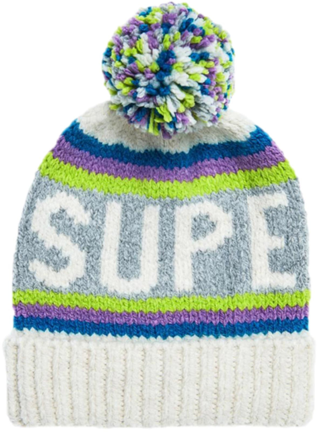Superdry Neon Beanie Bobble Hat White